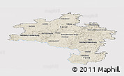 Shaded Relief Panoramic Map of Kassel, single color outside