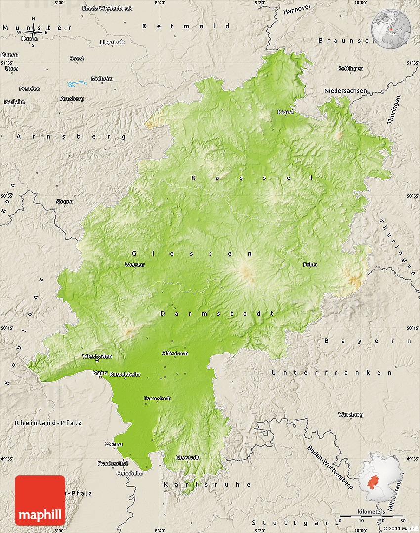 Physical Map Of Hessen Shaded Relief Outside