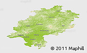 Physical Panoramic Map of Hessen, single color outside