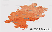 Political Shades Panoramic Map of Hessen, cropped outside