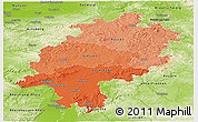 Political Shades Panoramic Map of Hessen, physical outside