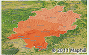 Political Shades Panoramic Map of Hessen, satellite outside
