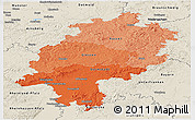 Political Shades Panoramic Map of Hessen, shaded relief outside