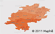 Political Shades Panoramic Map of Hessen, single color outside