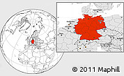 Blank Location Map of Germany, highlighted continent