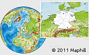 Blank Location Map of Germany, physical outside