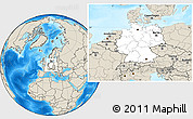 Blank Location Map of Germany, shaded relief outside