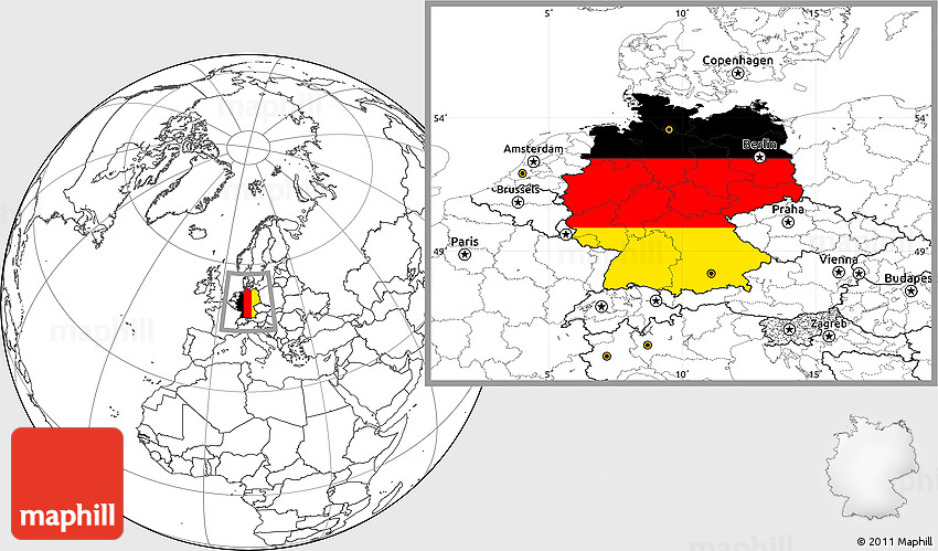 Flag Location Map Of Germany Blank Outside - Germany map location