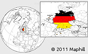 Flag Location Map of Germany, blank outside