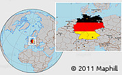 Flag Location Map of Germany, gray outside
