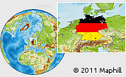 Flag Location Map of Germany, physical outside