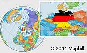 Flag Location Map of Germany, political outside