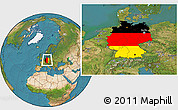 Flag Location Map of Germany, satellite outside