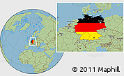 Flag Location Map of Germany, savanna style outside