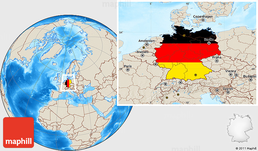 Flag Location Map Of Germany Shaded Relief Outside - Germany map location