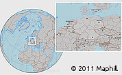 Gray Location Map of Germany, hill shading outside