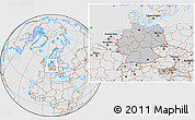 Gray Location Map of Germany, lighten, desaturated