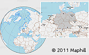 Gray Location Map of Germany, lighten, land only