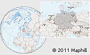 Gray Location Map of Germany, lighten
