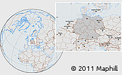 Gray Location Map of Germany, lighten, semi-desaturated