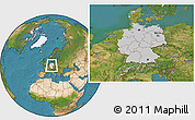 Gray Location Map of Germany, satellite outside
