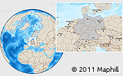 Gray Location Map of Germany, shaded relief outside