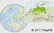 Physical Location Map of Germany, lighten