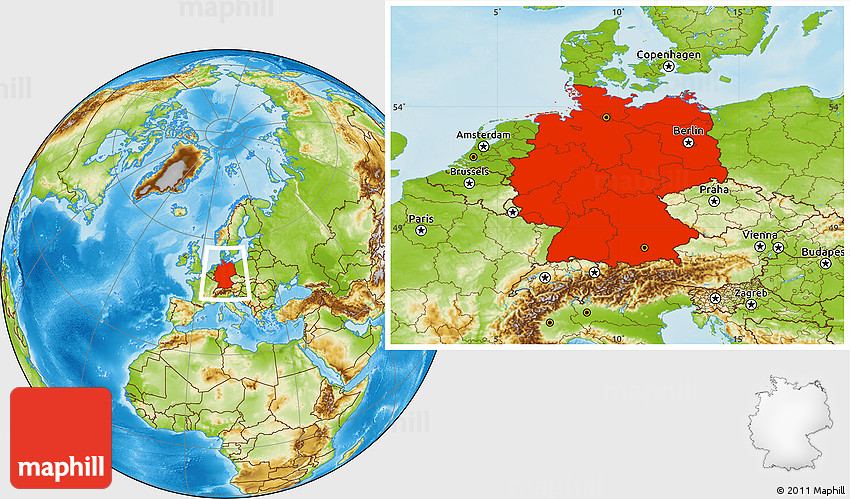 Physical Location Map Of Germany - Germany map location
