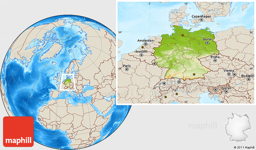 Physical Location Map of Germany, shaded relief outside