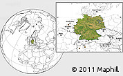 Satellite Location Map of Germany, blank outside