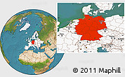 Satellite Location Map of Germany, highlighted continent