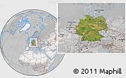 Satellite Location Map of Germany, lighten, desaturated