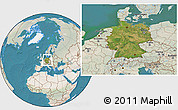 Satellite Location Map of Germany, lighten, land only