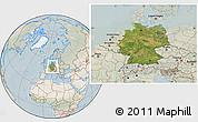 Satellite Location Map of Germany, lighten