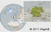 Satellite Location Map of Germany, lighten, semi-desaturated