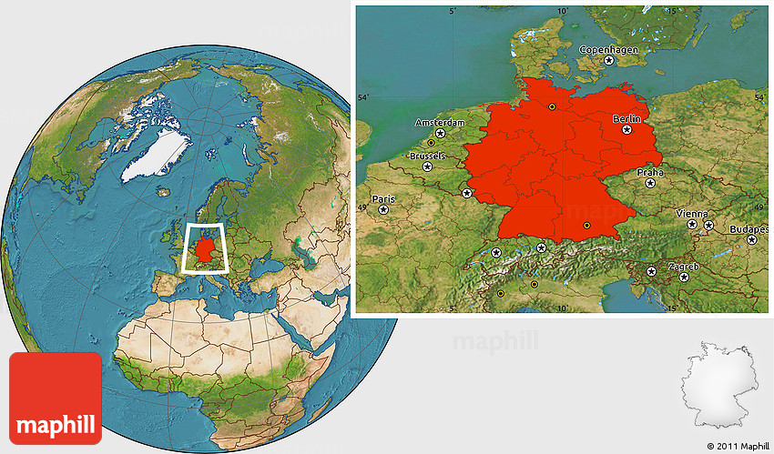 Satellite Location Map Of Germany - Germany map location