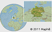 Satellite Location Map of Germany, savanna style outside, hill shading