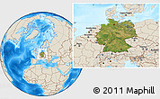 Satellite Location Map of Germany, shaded relief outside
