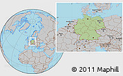 Savanna Style Location Map of Germany, gray outside