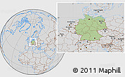 Savanna Style Location Map of Germany, lighten, desaturated