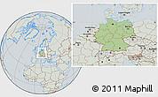 Savanna Style Location Map of Germany, lighten, semi-desaturated