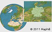 Savanna Style Location Map of Germany, satellite outside
