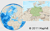 Savanna Style Location Map of Germany, shaded relief outside