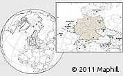 Shaded Relief Location Map of Germany, blank outside