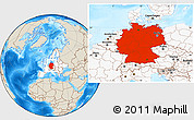 Shaded Relief Location Map of Germany, highlighted continent