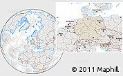 Shaded Relief Location Map of Germany, lighten, desaturated