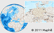Shaded Relief Location Map of Germany, lighten, land only