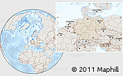 Shaded Relief Location Map of Germany, lighten