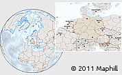 Shaded Relief Location Map of Germany, lighten, semi-desaturated