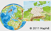 Shaded Relief Location Map of Germany, physical outside